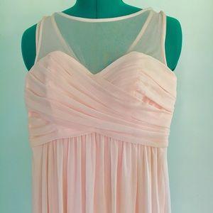 Long illusion mesh bridesmaid dress